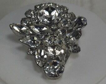 Glamorous Vintage Rhinestone Brooch, 50's Rhinestone Wedding Bridal Brooch, Coat Brooch, Statement Rhinestone Silver Pin, Brooch Under 30