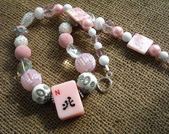 Pink Mahjong Necklace - Mahjong Gift - Jesse James Beads - Oriental Jewelry - Mahjong Jewelry - Mahjong Necklace