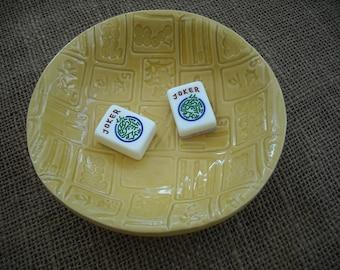 Mahjong Bowl - Yellow Mahjong Pottery - Mahjong Gift - Oriental Bowls - Yellow Pottery - Gift Idea - Mahjong Tableware