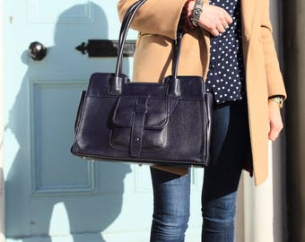 Navy Leather Handbag / Navy Leather Bag / Navy Leather Purse / Navy Shoulder Bag /  Leather Bag /  Leather Handbag /  Leather Messenger