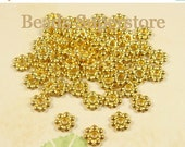 SALE 6 mm Gold-Plated Daisy Spacer - Nickel Free, Lead Free and Cadmium Free - 100 pcs (DS6G)