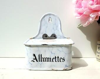 French Vintage Allumettes Box/French Vintage Enamelware Allumettes Box for Matches/Vintage Enamel Box For Matches/ Vintage Allumettes Box