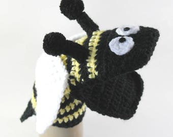 bee finger puppet template - hand puppet pattern etsy