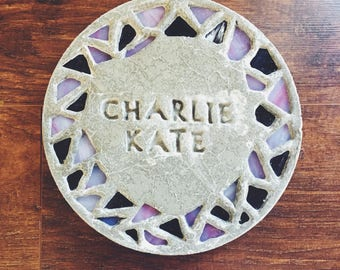 personalized stepping stone with mosaic glass rim (small)