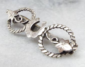Antique 1894 Victorian Lucky Horseshoe and Ivy Leaf Sterling Silver Brooch 925