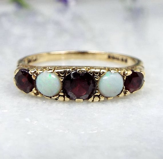 Vintage 1973 Victorian Style 9ct Yellow Gold Ornate Garnet and Opal Ring / Size N