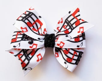 Music Notes Hair Bow /Hair Clip/Girl's hair bow//Baby Girl/hair accessory/clip/Music Lover/Black Red and White/