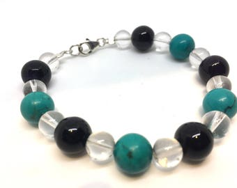Turquoise, Amethyst & Quartz Beaded Bracelet