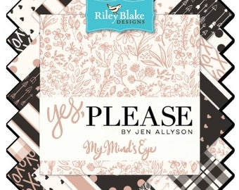 "PREORDER - Yes Please Fat Quarter Bundle, by My Mind's Eye for Riley Blake, 21 - 18"" x 22"" cuts"