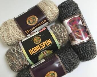 Lion Brand Homespun Yarn in Pearls, Shaker, and Edwardian // 4 Skein Pack // Stash Sale