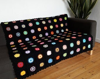 Crochet Blanket Granny Square Blanket Crochet Afghan Blanket Colorful Throw Blanket Boho Blanket READY TO SHIP