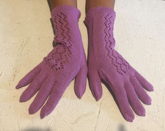 Gloves Knitted purple Accessory Woman gloves knitting arm warmers gloves with fingers winter accessory women gloves women mittens