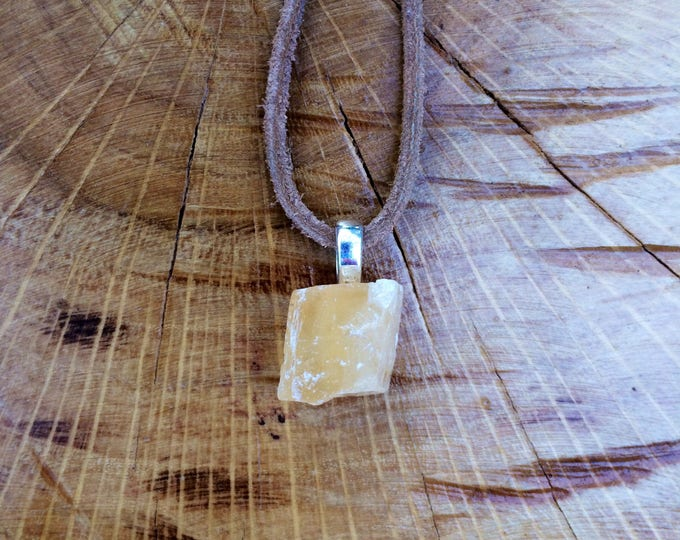 Honey Calcite leather necklace