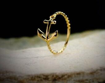 14k YG Anchor Ring