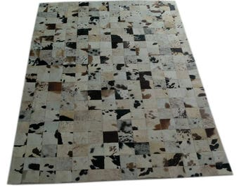 Handmade Cowhide Patchwork Rug - Beautiful Hair On Carpet - Luxurious Rug - R-06