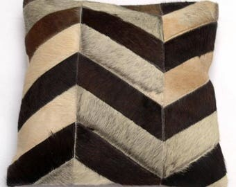 Natural Cowhide Luxurious Patchwork Hairon Cushion/pillow Cover (15''x 15'')a221