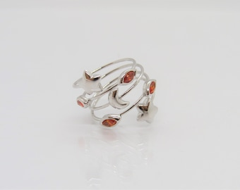 Vintage Sterling Silver Moon & Star Garnet Twisted Band Ring Size 6