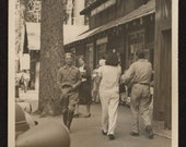 Vintage Photo Man Strolling By Giant Forest Market Sequoias California 1940's, Original Found Photo, Vernacular Photography