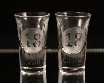 Personalised birthday shot glass, etched shot glass, name shot glass