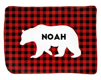 Baby boy blanket, personalized with name, buffalo plaid baby blanket bear, buffalo check, kids room decor
