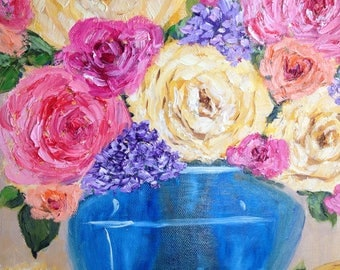 "Original oil painting still life by Diane Christian  Floral still life ""pink peonies"" 10 by 10 gallery wrapped canvas"