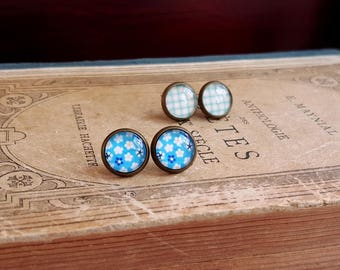 Geometric and floral print Stud earrings Cabochon earrings Set of 2 pairs Gift under 10 Cottage chic blue earrings