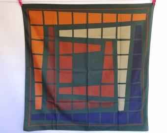 Vintage Scarf Green Navy brown Geometric 88cm x 88cm