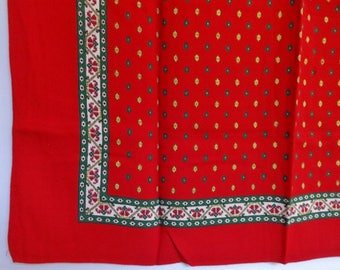 Vintage red green yellow patterned Scarf 74cm x 74cm