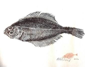 gyotaku fish print original washi paper