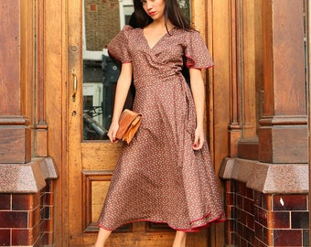 Lola wrap Dress  S/M L/XL size in BROWN and RED Modal Cotton Mid Length with Sleeve