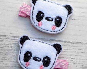 panda hair clips, panda hair clip, panda hair bow, girls hair accessories, hair clip, hair accessories, panda felt clip, felt hair clips