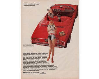 Vintage poster advertisement of a 1966 Corvair - 49