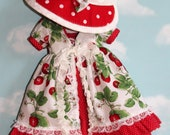 """14.5"""" Doll (Like Wellie Wisher) Strawberry Print Pinafore, Red & White Polka Dot Lace-Trimmed Dress, and Matching Felt Hat with Bow"""