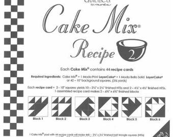 Moda Cake Mix Recipe 2, contains 44 recipe cards to show you how to slice and dice your Moda Layer Cakes
