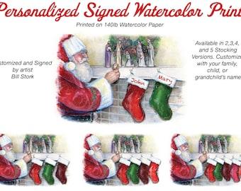 Nativity Personalized Stocking Santa Claus Print