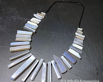 Blue Opal Pendant, Blue Opal Fan Necklace, Blue Opal Necklace, Cleopatra Style, Opal Bib Necklace, Opal Jewelry, October Birthstone, Gift