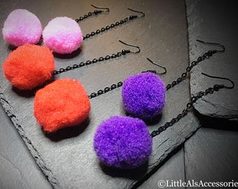 Colorful Pom Pom Earrings, Festival Jewellery, Wool Pom Poms, Fun Earrings, Fluffy Earrings, Teenage Girl Gifts, Woollen Jewelry, Valentines