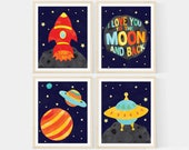 Planet Nursery Art, I love you to the moon and back - Space Nursery Art , Set of 4-  8x10 Prints , Featuring A Rocket, Spaceship, & Planets