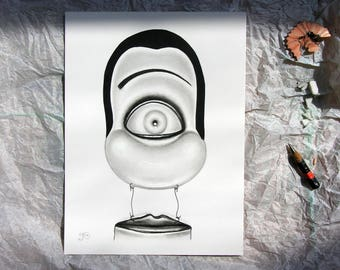 EYE & MOUTH - The Dummy - Original graphite pencil portrait drawing by Ria - Small A5 quirky and fun imaginative art