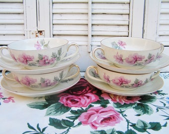 Set of Four Vintage 2 Handled Soup Bowls and Saucers Pirken Hammer Made in Czechoslovakia with Pink Flowers Czech Porcelain Broth Bowls