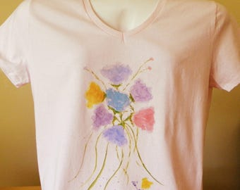 T-Shirt for Women, V-Neck Style, created by Pam Ponsart of Pam's Fab Photos featuring a watercolor reproduction of spring flowers