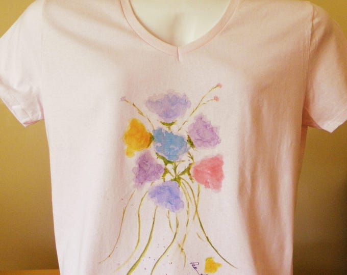 WOMENS V-neck T-Shirt created just for gals by Pam Ponsart of Pam's Fab Photos featuring a watercolor reproduction