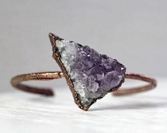 Amethyst Bracelet Stacking Bracelet Electroformed Bracelet Chunky Stone Bracelet Jewelry Copper Bangle Electroformed Jewelry Copper Bracelet