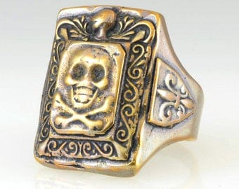 Mexican Skull and Crossbones Biker Ring Reproduction/Vintage '50's Style