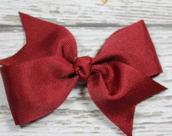 NEW Solid Burgundy/Maroon Basic Boutique Hair Bow on Lined Alligator Clip