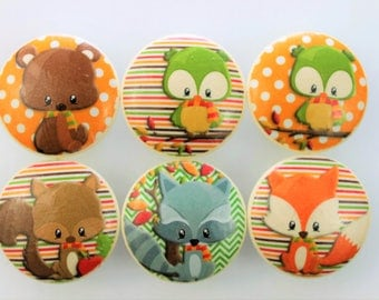 Set of 6 Forest Animals Cabinet Knobs