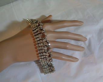 Scalloped Designed Rhinestone Sparkling Bling Rhodium Plated Small Wrist Unique Unusual Style