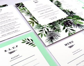 Botanical wedding invitation, Greenery wedding, Tropical wedding stationery suite, Tropical wedding invitation, Palm leaf wedding invite