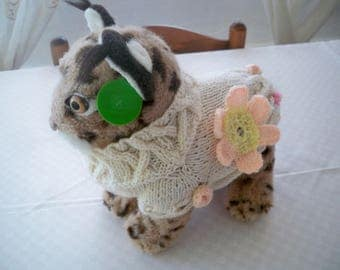 dog sweater with flowers applied