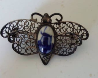 Vintage Delft Butterfly pin/brooch with Windmill and Filigree